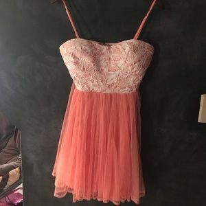 Flirty peach lace dress